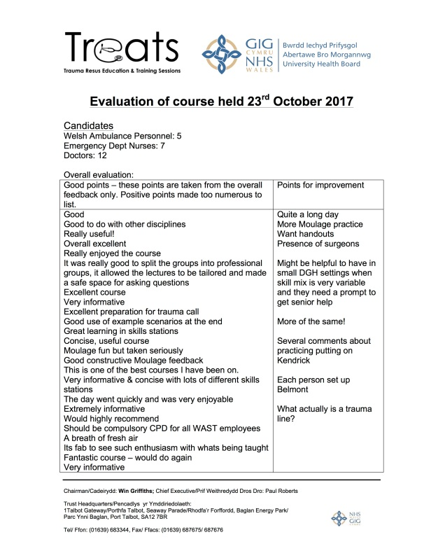Summary feedback 23rd Oct 2017